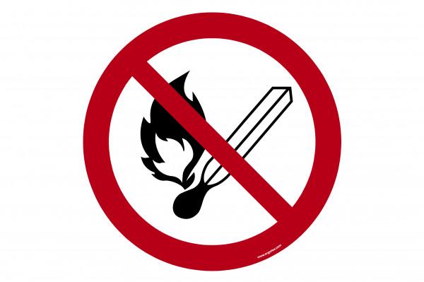 """Bodenkennzeichnungsschild """"Keine offene Flamme"""""""