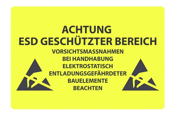 """Bodenkennzeichnungsschild   """"Achtung, ESD geschützter Bereich"""""""