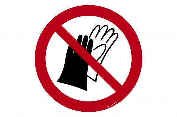 """Bodenkennzeichnungsschild """"Benutzen von Handschuhen verboten"""""""