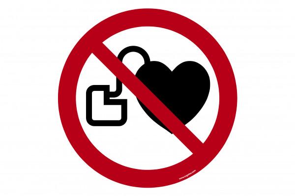 """Bodenkennzeichnungsschild """"Kein Zutritt für Personen mit Herzschrittmachern oder implantierten Def"""