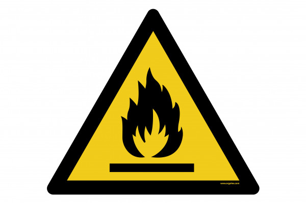 "Floor symbol ""Warning of flammable substances"""