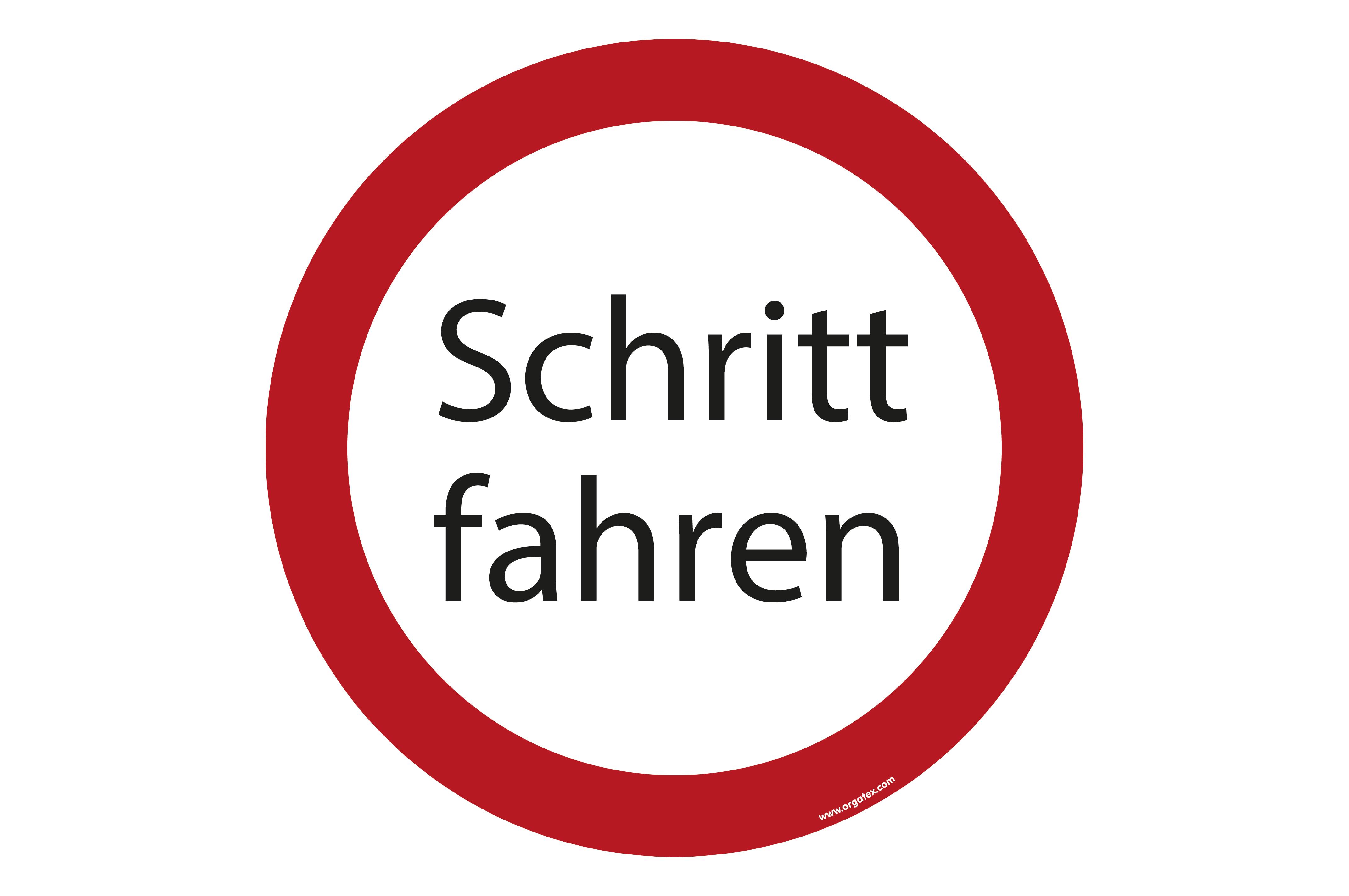 """Bodenkennzeichnungsschild   """"Schritt fahren"""""""