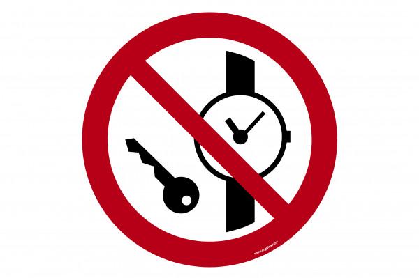 """Bodenkennzeichnungsschild """"Keine Metalteile oder Uhren mitführen"""""""