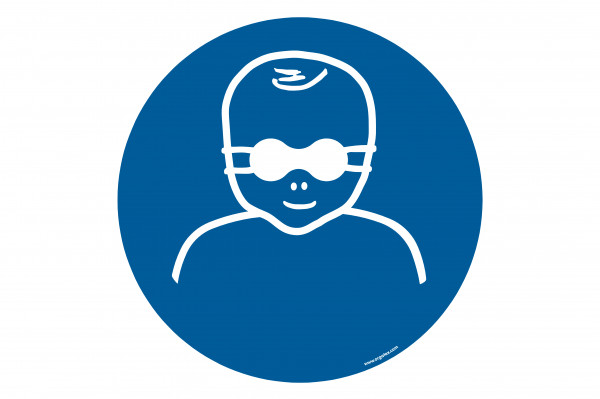 "Floor symbol ""Protect infant's eyes with opaque eye protection"""