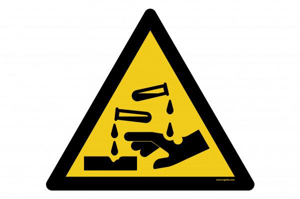 """Bodenkennzeichnungsschild """"Warnung vor ätzenden Stoffen"""""""