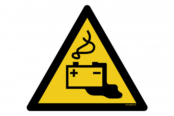 """Bodenkennzeichnungsschild """"Warnung vor Gefahren durch das Aufladen von Batterien"""""""