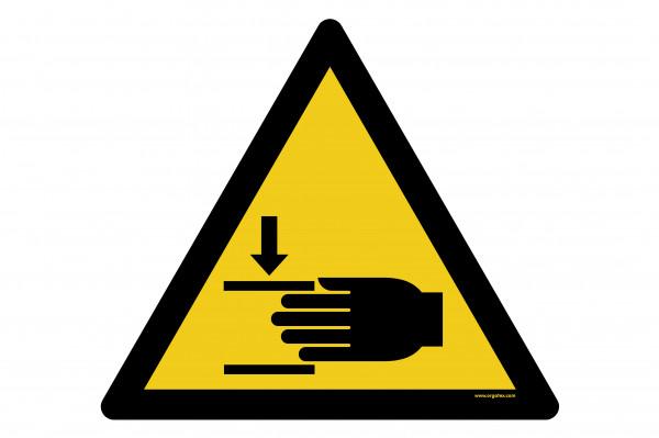 """Señal para pisos """"Advertencia de lesiones en las manos"""""""