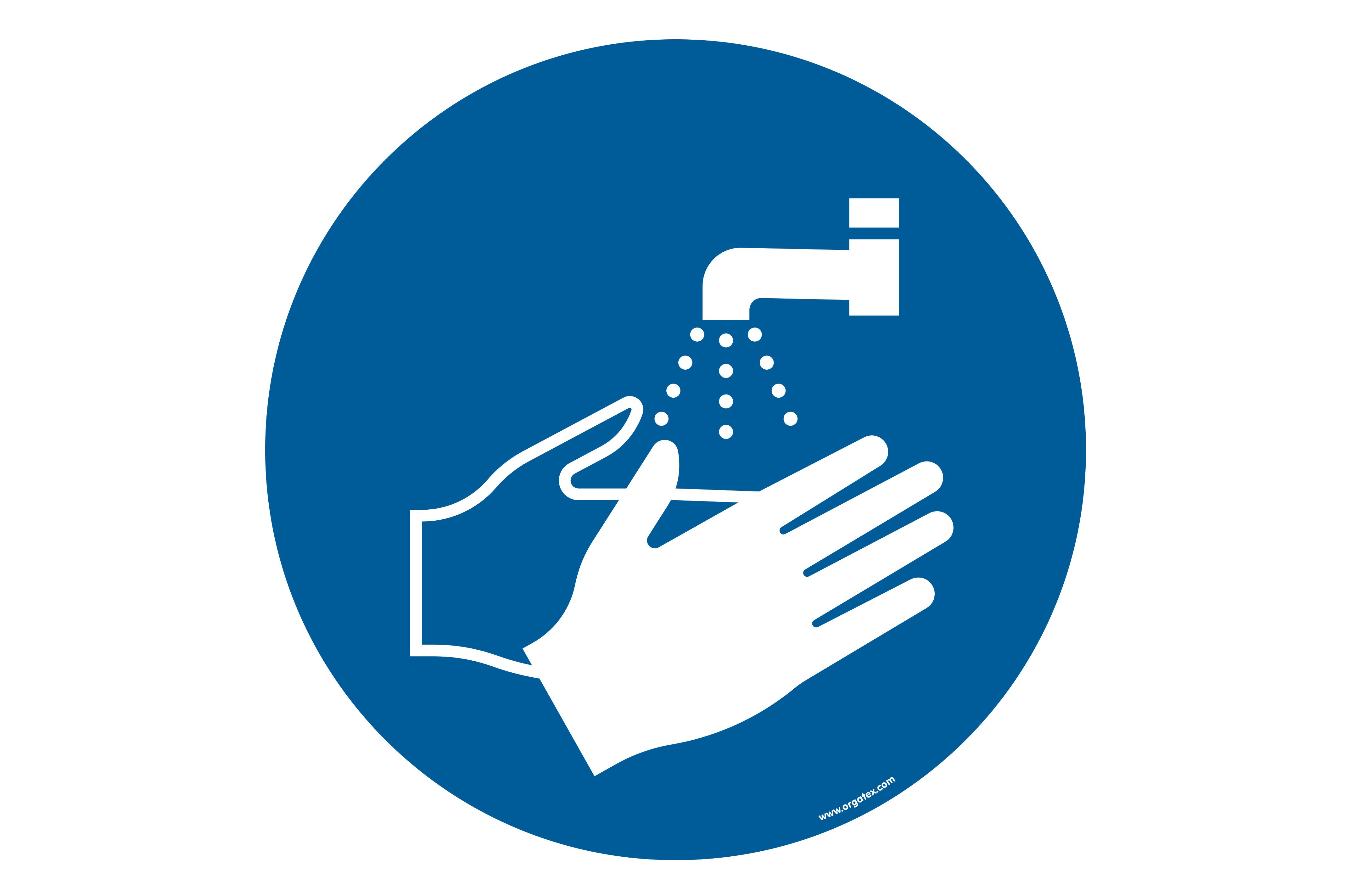 """Señal para pisos """"lavarse las manos"""""""