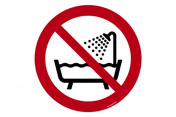 """Floor symbol """"Don ot use this device in the bathhub, shower or water-filled reservoir"""""""