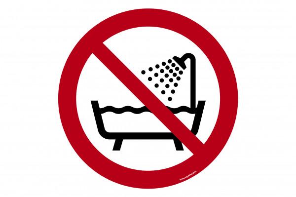 """Bodenkennzeichnungsschild """"Verbot, dieses Gerät in der Badewanne, Dusche oder über mit Wasser gefü"""